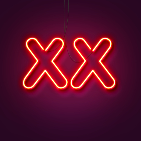 XX - Neon sign a purple background. Valentines background. 3D Rendering