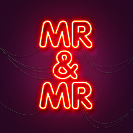 Mr and Mr - Neon sign a purple background. Valentines background. 3D Rendering