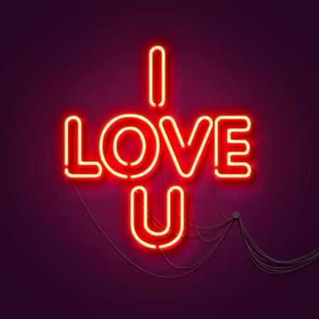 I love u - Neon sign a purple background. Valentines background. 3D Rendering