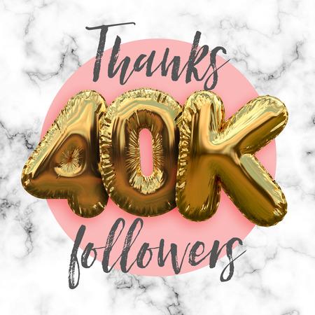 Thank you fourty thousand followers gold foil balloon ocial media subscriber banner. Stok Fotoğraf - 94377951