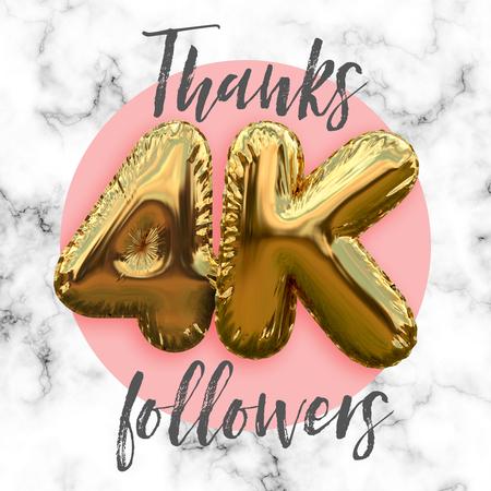 Thank you four thousand followers gold foil balloon ocial media subscriber banner. Stock Photo