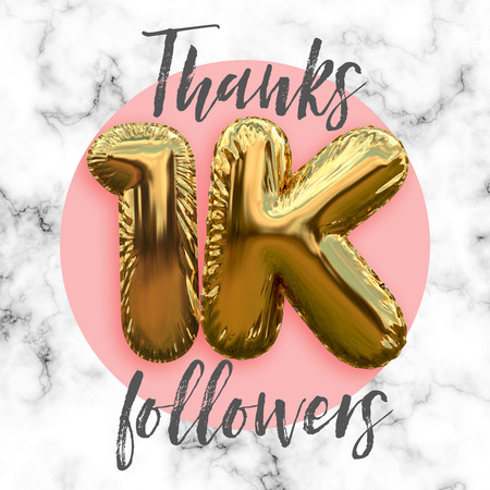 Thank you one thousand followers gold foil balloon ocial media subscriber banner.