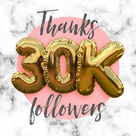 Thank you thirty thousand followers gold foil balloon ocial media subscriber banner.