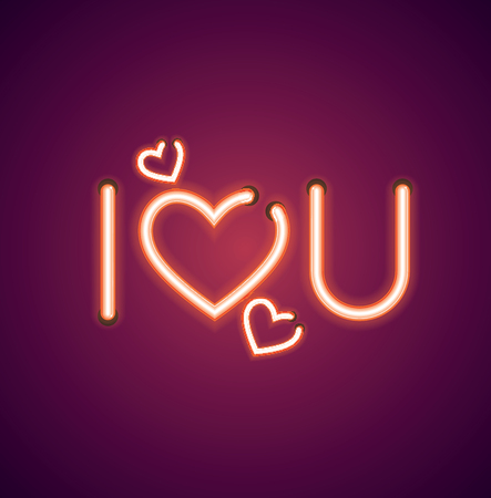 Valentine's neon I heart you vector sign