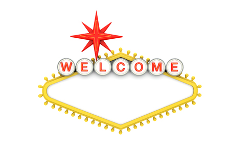 Welcome to Las Vegas classic sign with copy space. 3D Rendering
