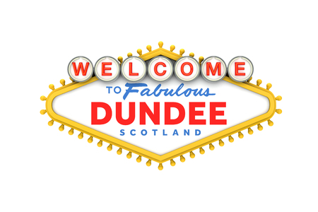 Welcome to Dundee sign in classic las vegas style design . 3D Rendering
