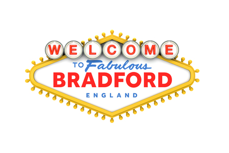 Welcome to Bradford sign in classic las vegas style design . 3D Rendering