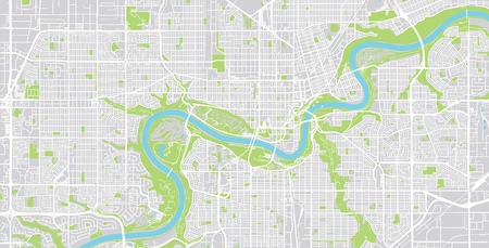Urban vector city map of Edmonton, Canada