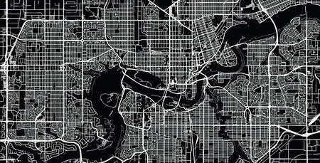 Stedelijke vector plattegrond van de stad van Edmonton, Canada