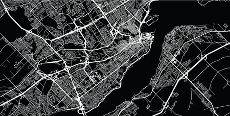 Urban vector city map of Quebec, Canada