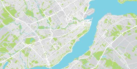 Urban vector city map of Quebec, Canada