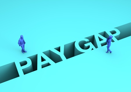 Gender pay gap concept. Businesswoman and businessman on two sides of the pay gap. 3D Rendering Standard-Bild