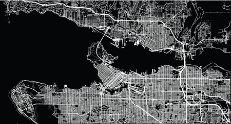 Stedelijke vector plattegrond van de stad van Vancouver, Canada Stockfoto - 94910617