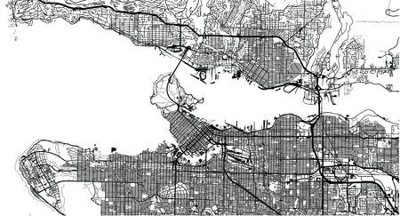 Stedelijke vector plattegrond van de stad van Vancouver, Canada