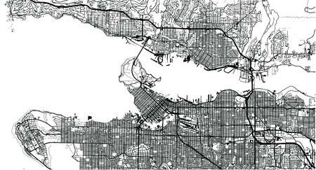 Urban vector city map of Vancouver, Canada