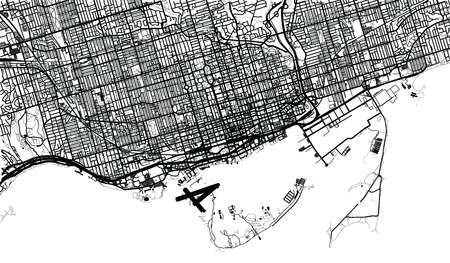 Urban vector city map of Toronto, Canada