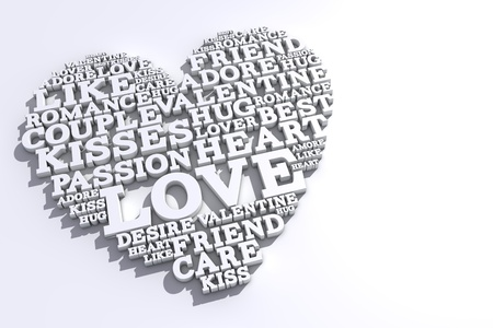Heart shape made from love words. Valentines day. 3D rendering Stock Photo