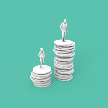 Gender pay equality concept. man and woman on a stack of coins. 3D Rendering