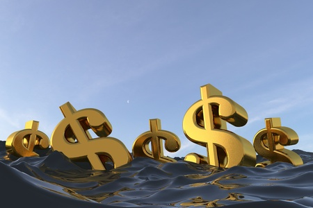 Dollar currency symbol at sea. Drowning in debt financial problem concept. 3D rendering
