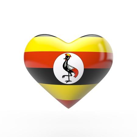 Uganda heart flag. 3D rendering
