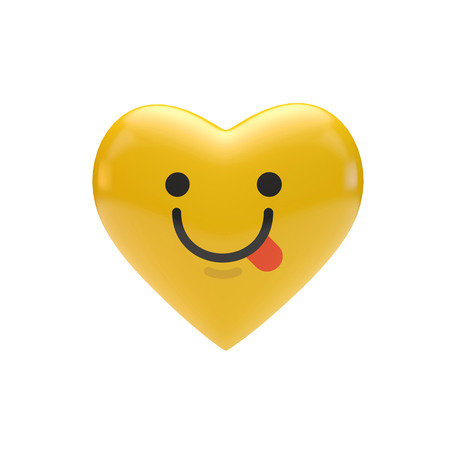 Emoji emoticon character heart shape. 3D Rendering