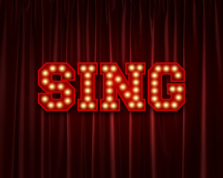 Sing lightbulb lettering word against a red theatre curtain. 3D Rendering