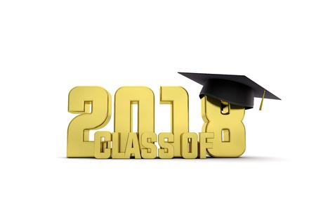 2018 graduation education message. 3D Rendering Stock Photo