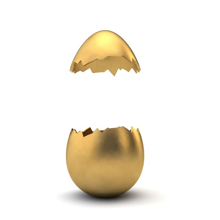 Gold luxury easter egg cracked open with copy space. 3D Rendering