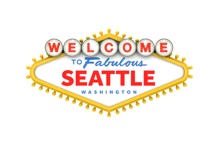 Welcome to Seattle sign in classic las vegas style design . 3D Rendering