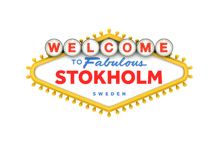 Welcome to Stokholm, Sweden sign in classic las vegas style design . 3D Rendering