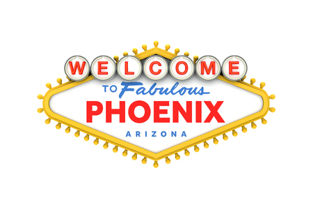 Welcome to Phoenix, Arizona sign in classic las vegas style design . 3D Rendering