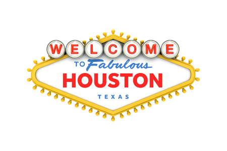 Welcome to Houston, Texas sign in classic las vegas style design . 3D Rendering 免版税图像