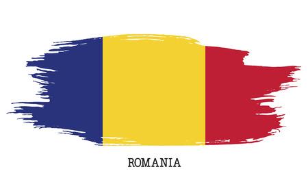 Romania flag vector grunge paint stroke illustration.
