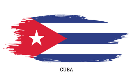 Cuba flag vector grunge paint stroke illustration.