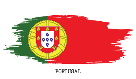 Portugal flag vector grunge paint stroke illustration.