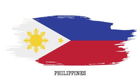 Philippines flag vector grunge paint stroke illustration.