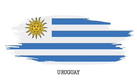 Colpo della pittura di lerciume di vettore della bandiera dell'Uruguay Vettoriali