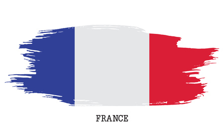 France flag vector grunge paint stroke