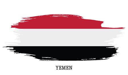 Yemen flag vector grunge paint stroke