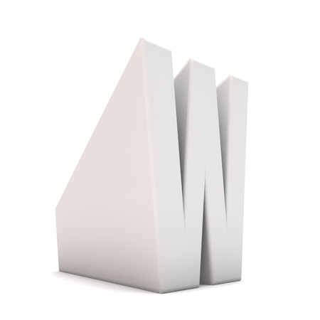 Letter W sloping perspective font. 3D Rendering