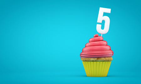 Nummer 5 Geburtstagsfeier Cupcake . 3D-Rendering Standard-Bild - 96066245