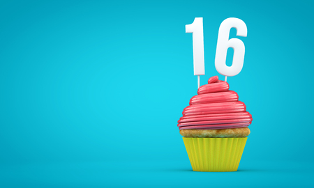 Number 16 birthday celebration cupcake. 3D Rendering Stock Photo