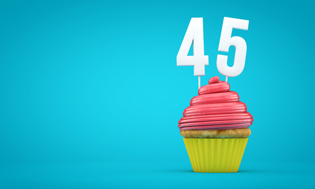 Number 45 birthday celebration cupcake. 3D Rendering Stok Fotoğraf