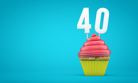 Number 40 birthday celebration cupcake. 3D Rendering