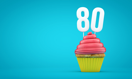Number 80 birthday celebration cupcake. 3D Rendering
