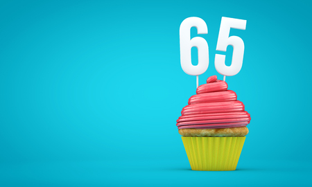 Number 65 birthday celebration cupcake. 3D Rendering Stock Photo