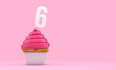 Number 6 pink birthday celebration cupcake. 3D Rendering