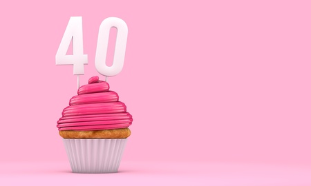 Number 40 pink birthday celebration cupcake. 3D Rendering