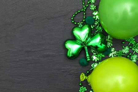 St Patricks day background with green balloons and shamrock Stock Photo