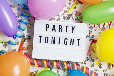 Party celebration background with party tonight message on a lightbox Banque d'images